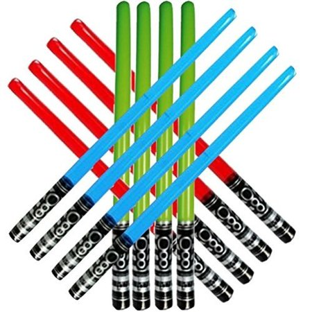 Honey Badger Brands Inflatable Play Light Saber - Great For Star Wars Parties and Favors, Larp, Halloween, Christmas Stocking Stuffers, and More! (12 Pack-4 Red, 4 Blue, 4 Green) (Stockings Halloween)