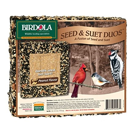 Birdola Seed & Suet Duos Cake, Peanut Flavor, 11.5-Ounce by Spectrum Brands