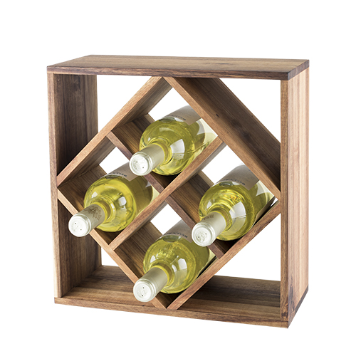 Rustic Farmhouse: Acacia Wood Lattice Wine Rack by Twine by True Brands