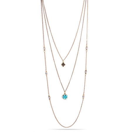 Turquoise Vintage Cross (TAZZA WOMEN'S OXIDIZED ANTIQUE LOOK VINTAGE GOLD-TONE TURQUOISE AND CRYSTAL LAYERED NECKLACE #SQ251-160313 )
