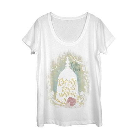 Beauty And The Beast Found Within Womens Graphic Scoop Neck