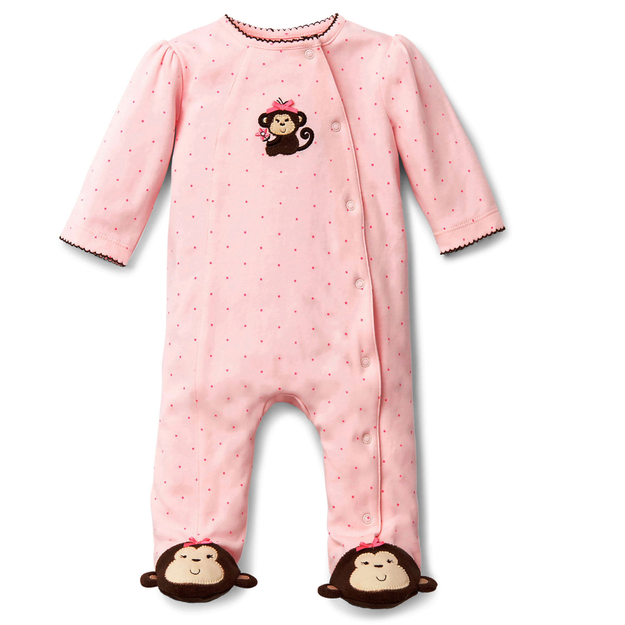 And brown sweet monkey snap front footie pajamas for baby girls sleep