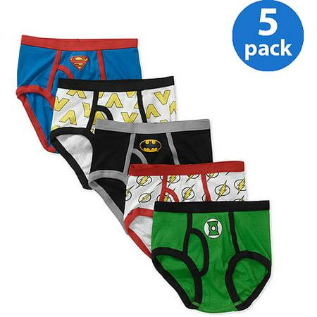 DC Comics Justice League Batman; Superman; Aquaman; The Flash; Green Lantern, 5 Pack Briefs (Little Boys)