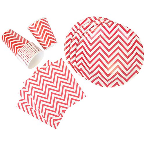 Just Artifacts Disposable Party Tableware 44pcs Chevron Pattern Dining Set (Round Plates, Cups, Napkins) - Color: Red - Decorative Tableware for Parties, Baby Showers, and Life Celebrations!