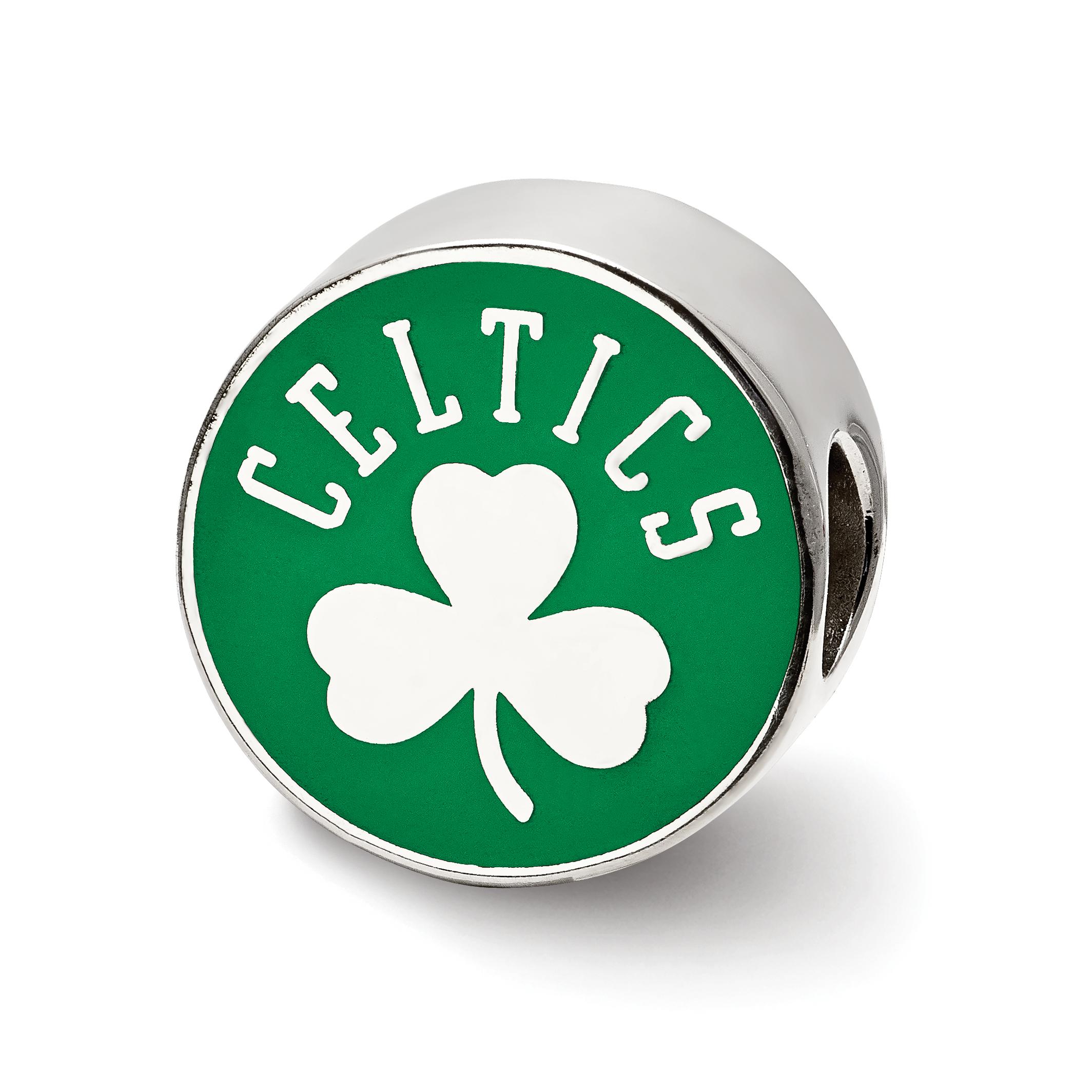 Sterling Silver NBA Basketball LogoArt Official Licensed Boston Celtics Enameled Logo Bead