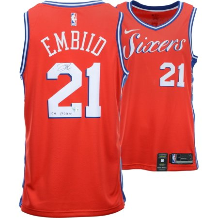 Autograph Authentic Style Jersey - Joel Embiid Philadelphia 76ers Autographed Red Statement Swingman Jersey with