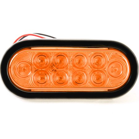 Red Hound Auto 6 Inches Oval Amber LED Parking or Turn Signal Light Flush Mount Trailer Truck - Single Function Light ()