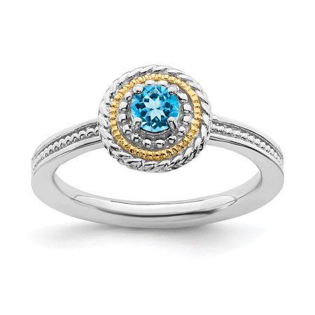 Band Blue Topaz Gemstone Ring (925 Sterling Silver 14kt Blue Topaz Band Ring Size 7.00 Stone Stackable Gemstone Birthstone December Fine Jewelry Ideal Gifts For Women Gift Set From Heart)