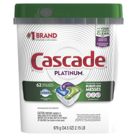 Cascade Platinum Dishwasher Detergent ActionPacs, Fresh Scent, 62 count