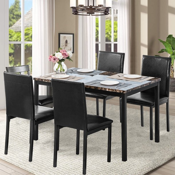 Rectangle Dining Room Table Set 5 Piece Dining Table Set Dining Set With Metal Frame Marble Dining Table Leather Chairs Modern Kitchen Table And Chairs Set Indoor Use Furniture Black Y0874 Walmart Com