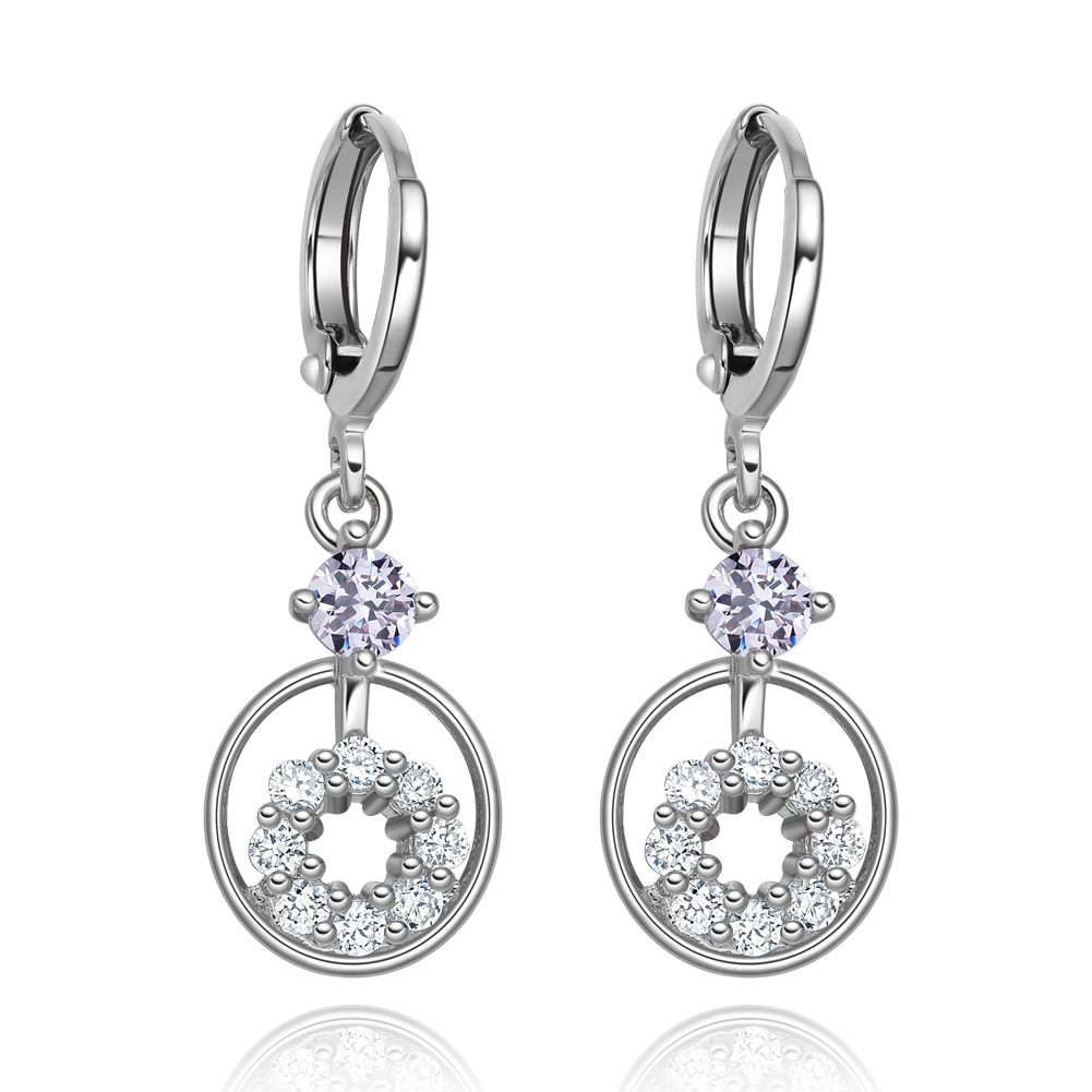 Small Cute Double Lucky Magic Circles Purple White Sparkling Crystals Silver-Tone Fashion Amulet Earrings