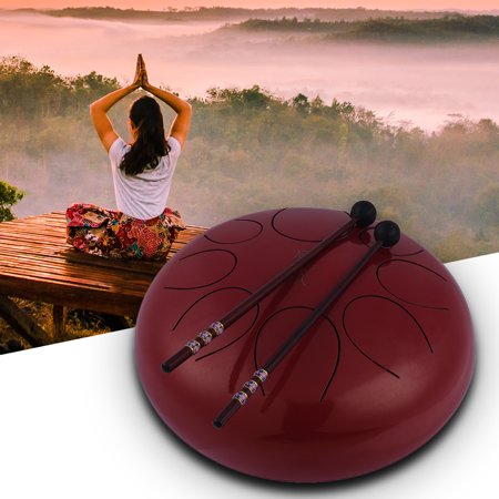10 Inch Steel Tongue Drum Handpan Drum Hand Drum Percussion Instrument with Drum Mallets Carry Bag Note Sticks for Meditation Yoga Zazen Sound Healing