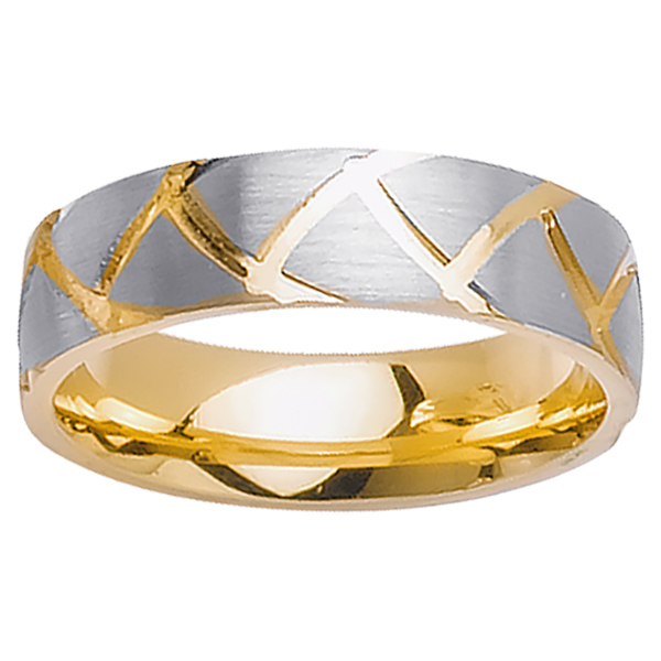 14K Two Tone Gold Pattern Modern Comfort Fit Women's Wedding Band (6mm)