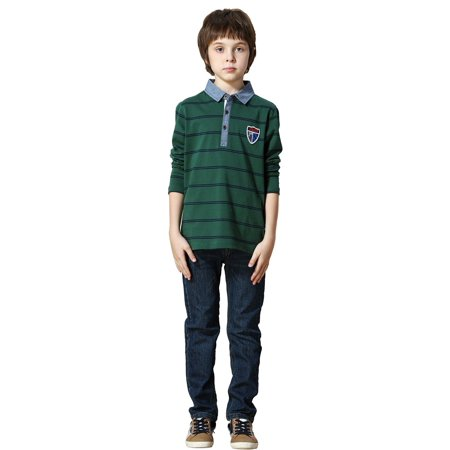 Leo&Lily Boys Long Sleeves Striped Cardigan Rugby Polo Shirt (Green,5) LLB3502