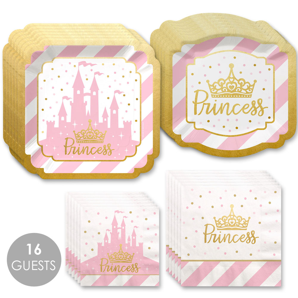 Little Princess Crown with Gold Foil - Pink and Gold Princess Party Tableware Plates and Napkins - Bundle for 16