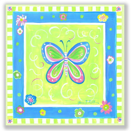 Butterfly with Pink and Green Border Square Wall Plaque