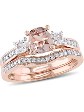 1-1/7 Carat T.G.W. Morganite, Created White Sapphire and 1/7 Carat T.W. Diamond 10kt Rose Gold Bridal Set
