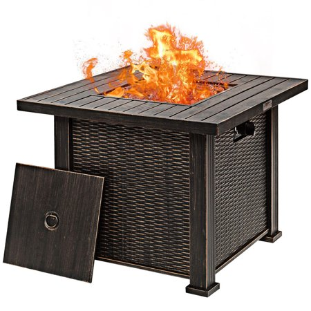 Gymax 30'' Gas Fire Table 50,000 BTU Square Propane Fire Pit Table w/Lid and Lava Rocks - image 1 of 10
