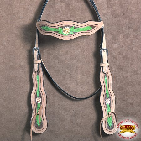 HILASON WESTERN AMERICAN LEATHER HORSE BRIDLE HEADSTALL TAN GREEN FLORAL