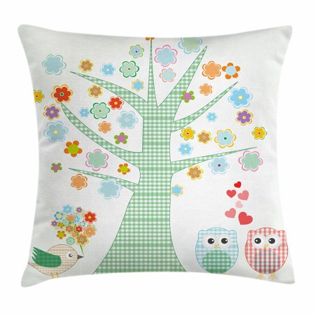 Nursery Throw Pillow Cushion Cover, Romantic Owls In Love and Big Tree with Colorful Blossoms Bird Bouquet, Decorative Square Accent Pillow Case, 16 X 16 Inches, Mint Green Multicolor, by Ambesonne