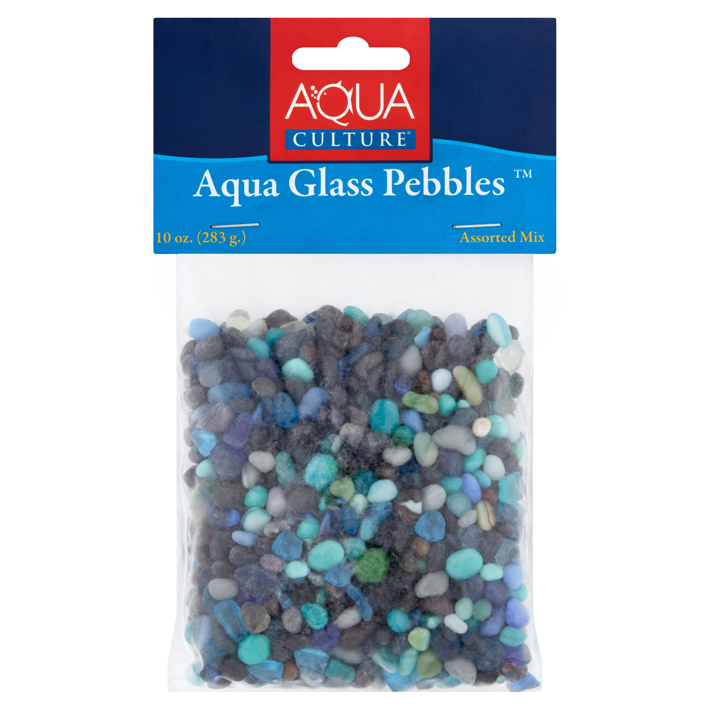 Aqua Culture Assorted Mix Aqua Glass Fish Tank Febbles, 10-Ounce