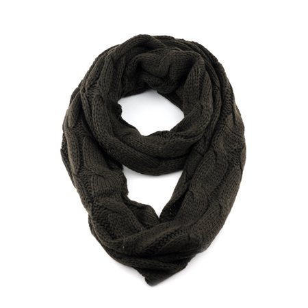 NYfashion101 Soft Warm Chunky Cable Knit Infinity Loop Scarf (Green Chunky Scarves)