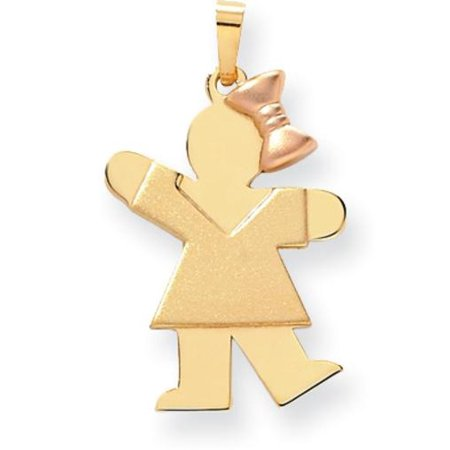 14K Two Tone Gold The Kids Girl Charm - Kids Charms