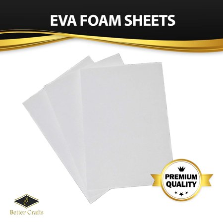 White EVA Foam Sheet, 9 inch x 12 inch, 6 mm- Extra Thick! Great for Crafts! (Pack Of 4)