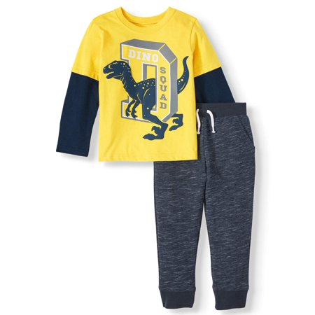 Garanimals Long Sleeve Hangdown Graphic T Shirt & French Terry Joggers, 2pc Outfit Set (Toddler