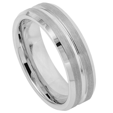 TK Rings 046TR-7mmx11.0 7 mm Shiny Grooved Center Brushed Sides Tungsten Ring - Size 11 - image 1 de 1