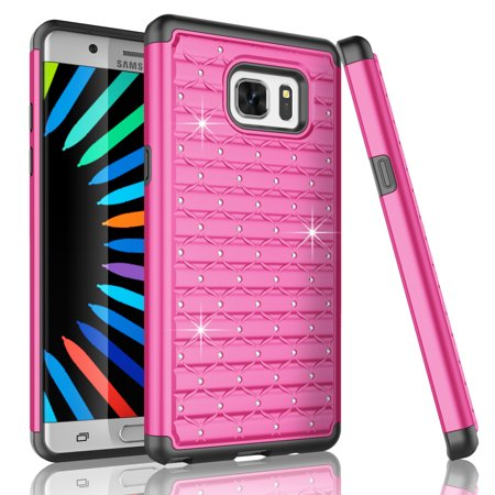 Galaxy Note 7 Case, Note 7 Case, Tekcoo [Tstar Series] Studded Rhinestone Crystal Bling Rubber Defender Plastic Rugged Slim Hard Case Cover For Samsung Galaxy Note 7 2016 N930](Plastic Bling)