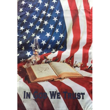In God We Trust Patriotic Garden Flag American Stars Stripes 12 X 18