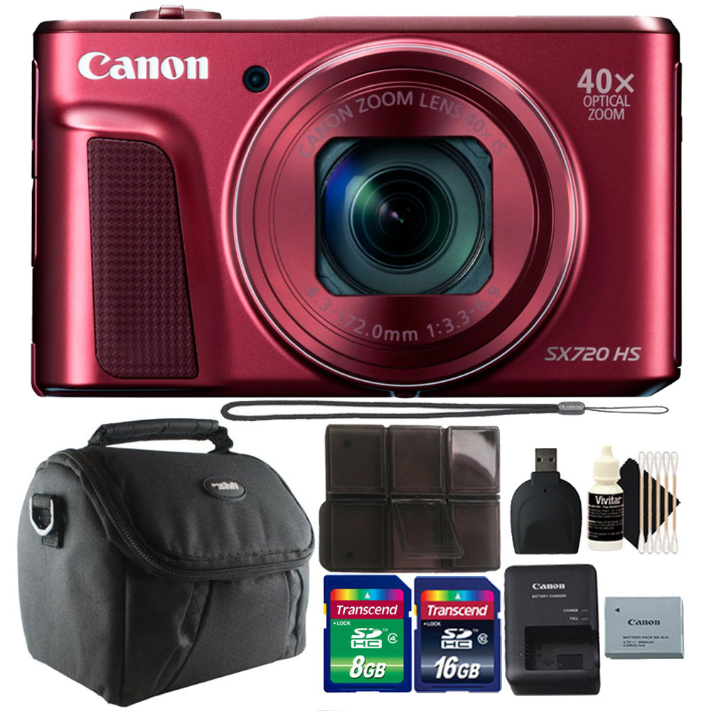Canon PowerShot SX720 HS 20.3MP 40X Zoom Built-In Wifi / NFC Full HD 1080p Point and Shoot Digital Camera Red with 24GB Accessory Bundle