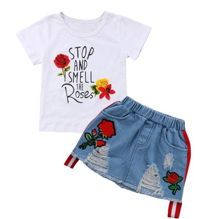 Toddler Kids Baby Girl Summer Tops T-shirt Denim Dress 2Pcs Outfits Clothes 1-2