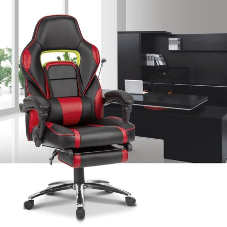 LANGRIA Faux Leather Racing Gaming Chair Computer Office Chair, with Footrest and Lumbar Cushion, Ergonomic Design, LROC-7384RD,Black and