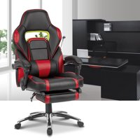 Langria Ergonomic Racing Gaming Chair with Footrest and Lumbar Cushion, LROC-7384RD, Black and Red