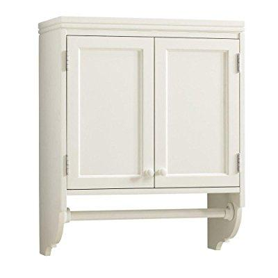 H Laundry Storage Wall Mounted Cabinet With Clothing Rod In Picket Fence