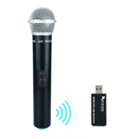 Fifine Wireless Microphone, USB Microphone,UHF Handheld Dynamic Microphone with USB Receiver Output to Mac or PC For Singing,Podcasting and online (Best External Microphone For Mac)