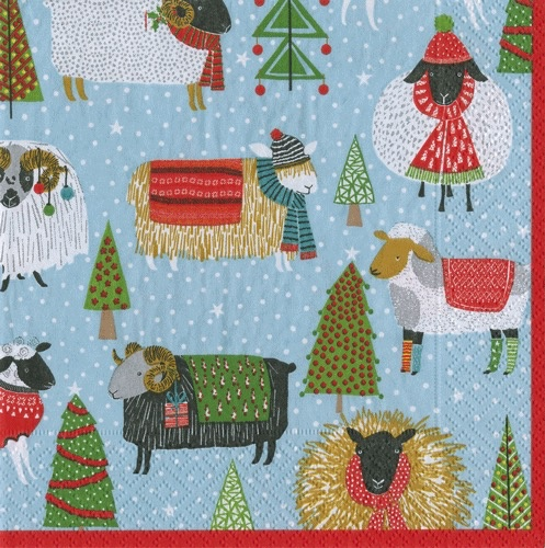 Christmas Paper Cocktail Napkins 20pk Warm and Wooly by Caspari