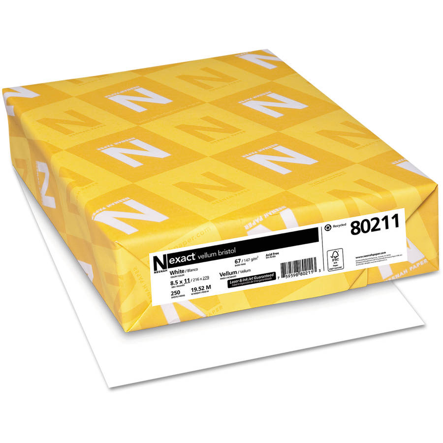 Neenah Paper Exact Vellum Bristol Cover Stock, 67lb, 94 Bright, 8 1/2 x 11, White, 250 Sheets
