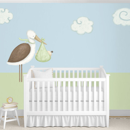 My Wonderful Walls Standing Stork and Cloud Wall Stickers