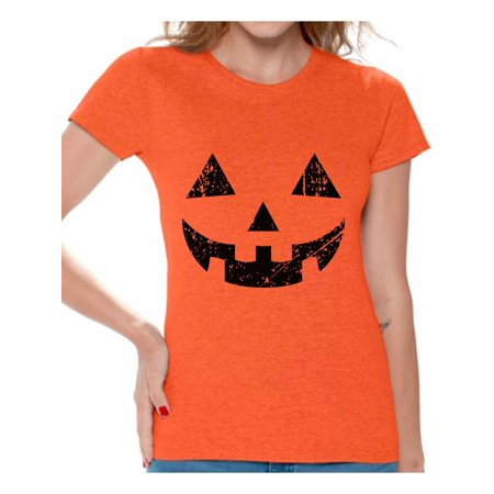Awkward Styles Halloween Pumpkin Tshirt Jack-O'-Lantern Shirt Halloween Shirt for Women Dia de los Muertos T Shirt Pumpkin Face T-Shirt Women's Halloween Party Shirt Day of the Dead Gifts for Her - Halloween Messages For Boyfriend