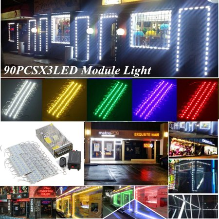 90pcs 5050 decoration SMD 3 LED Module Strip Window Store Front Light Decoration Dressing Makeup Mirror Door Decor Lamp + Power + Remote (Light Up Decorations)