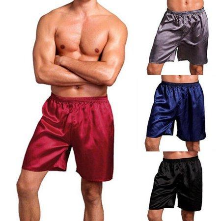 Men Casual Sleep Pants Silk Satin Pajamas Loose Homewear Shorts Lounge (Best Mens Silk Pajamas)