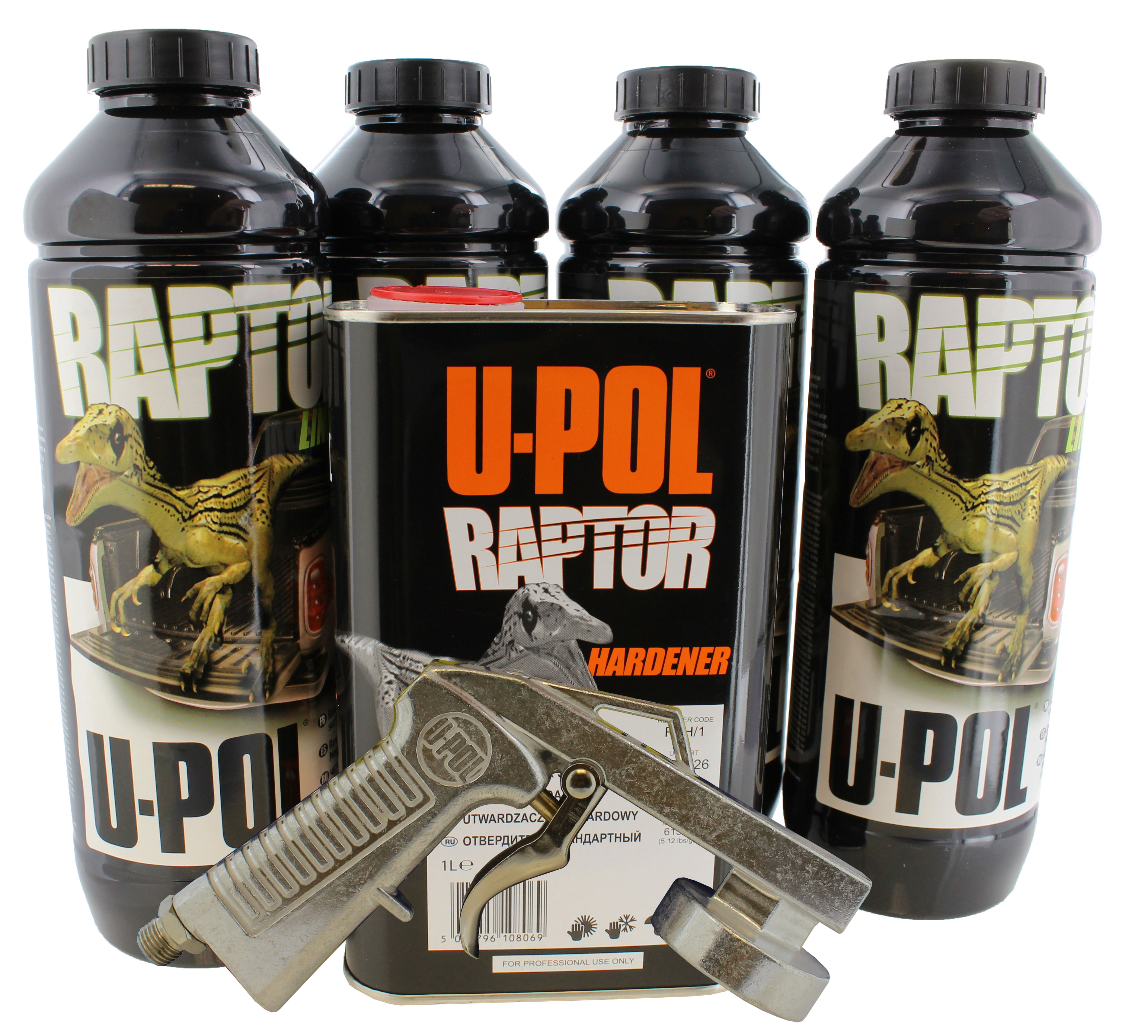 U-Pol UPOL 820V Raptor Black Urethane Spray-On Truck Bed Liner Kit with 726 GUN