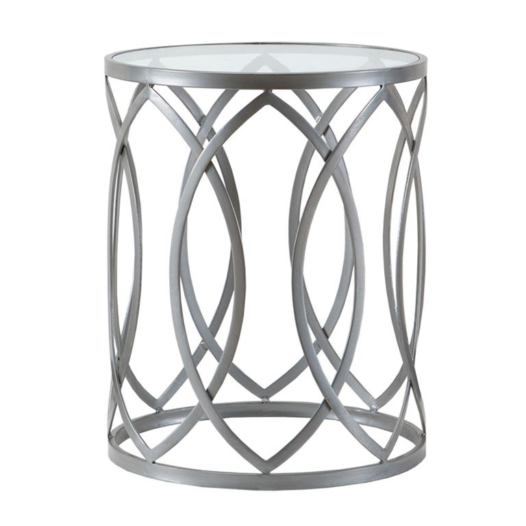 Madison Park Arlo Metal Eyelet Accent Table In Grey