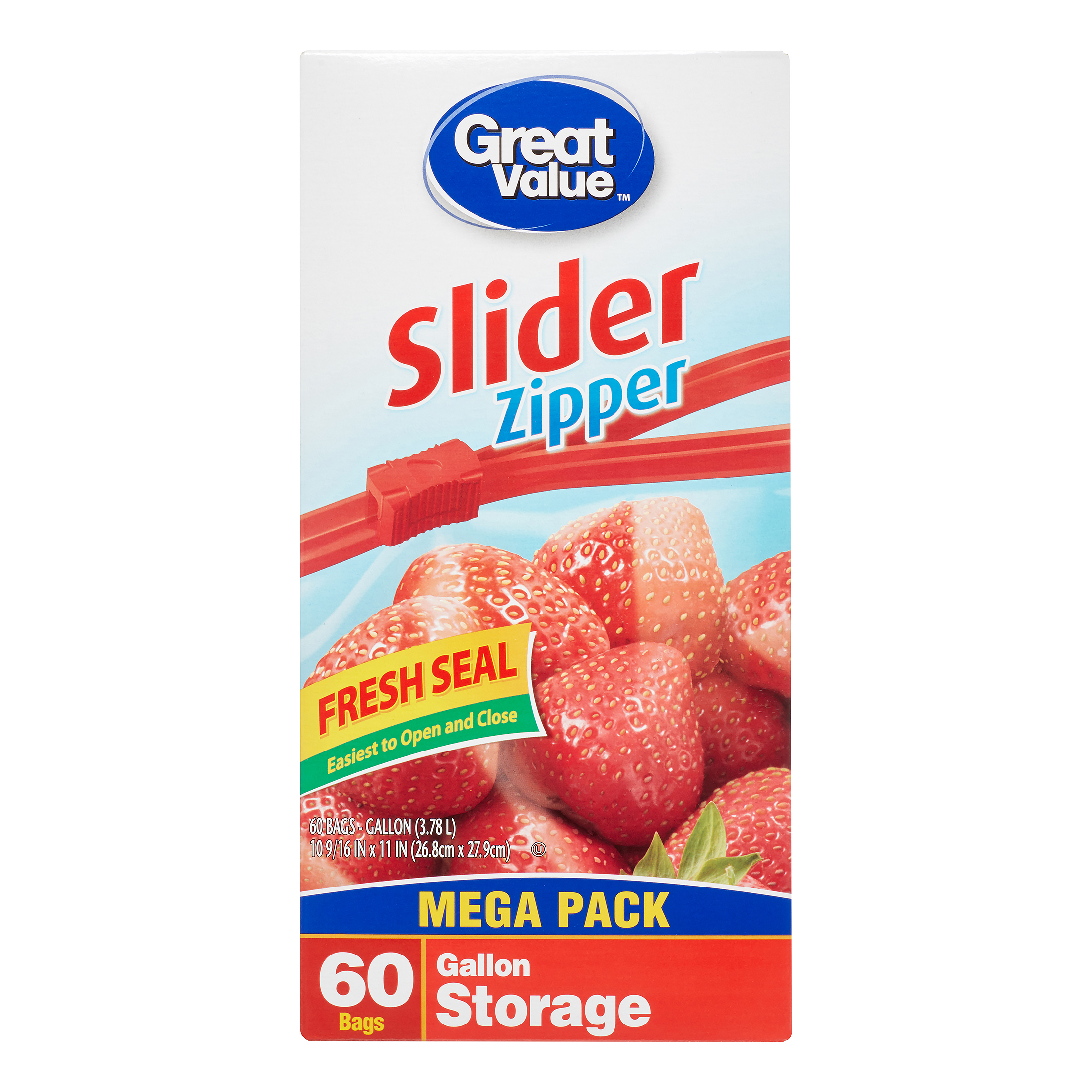 Great Value Slider Zipper Freezer Bags, Gallon, 60 Count
