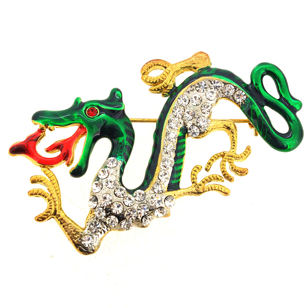 Green Enamel Chinese Dragon Pin Brooch by