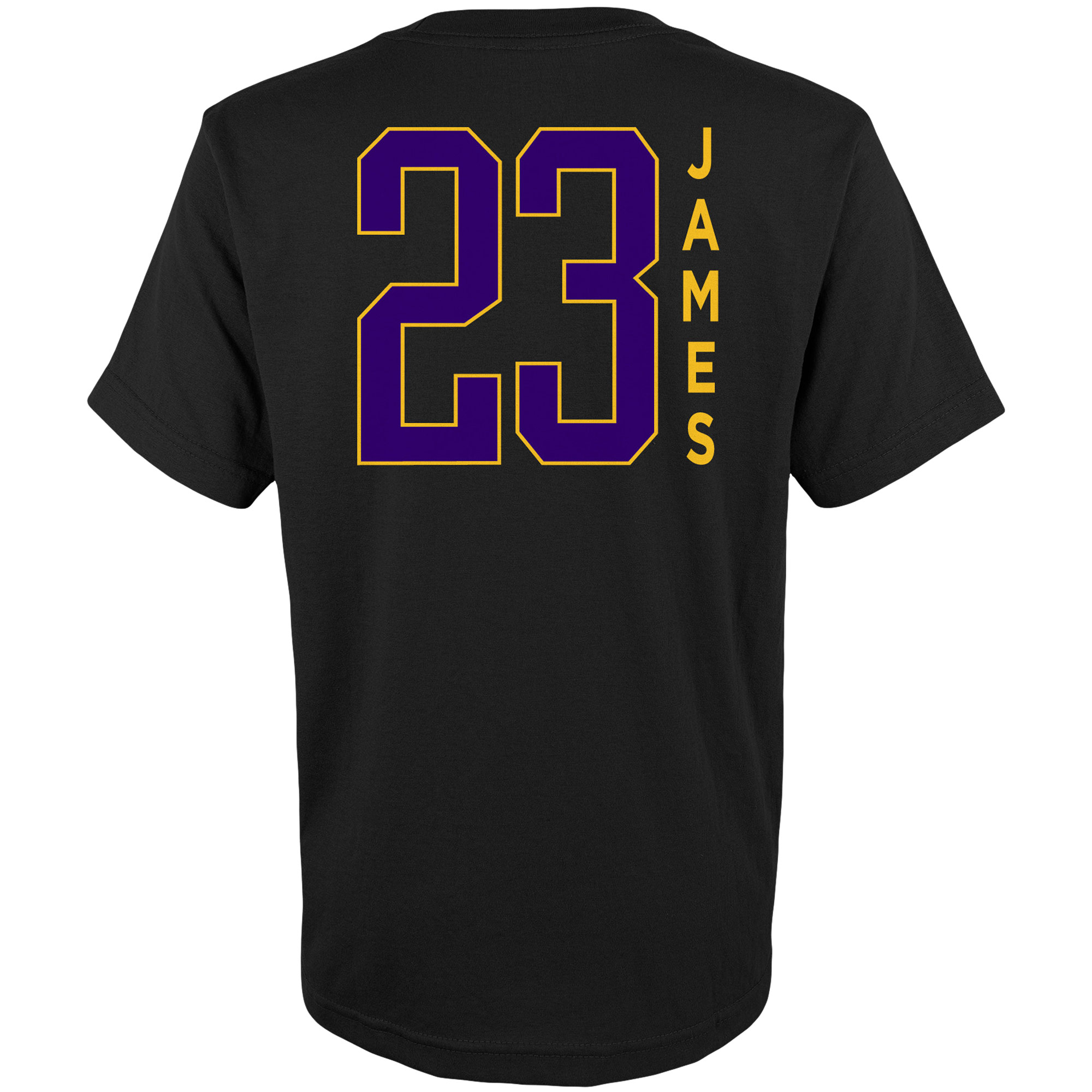 big sale b7d9a db014 Youth LeBron James Black Los Angeles Lakers Name & Number T-Shirt