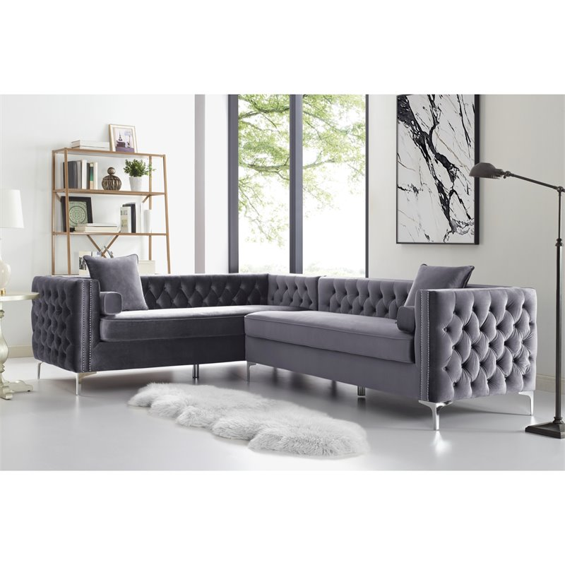 Levi Grey Velvet Corner Sectional Sofa - 120 Inches Left Facing